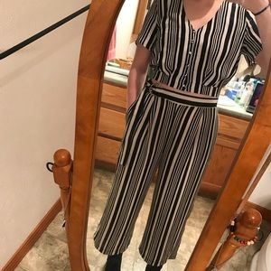 Other - Striped Black and White Two-Piece Jumpsuit